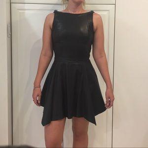 BNWT LE Armani Exchange black leather dress